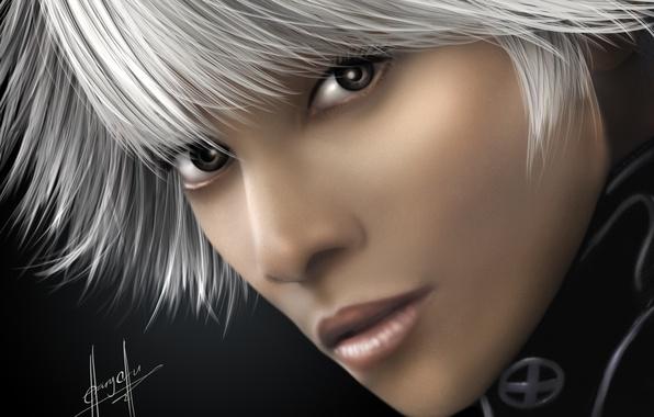 Картинка девушка, лицо, арт, X-Men, белые волосы, Storm
