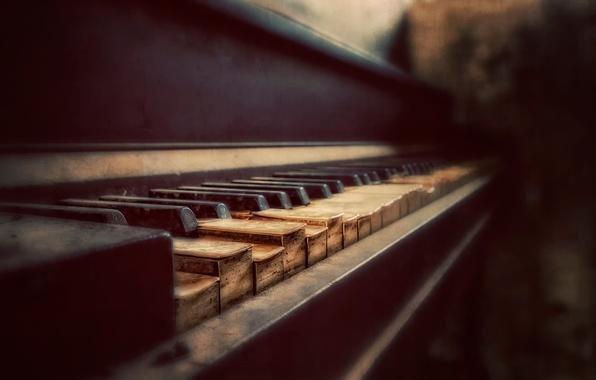 Картинка клавиши, пианино, боке, Aged to Perfection