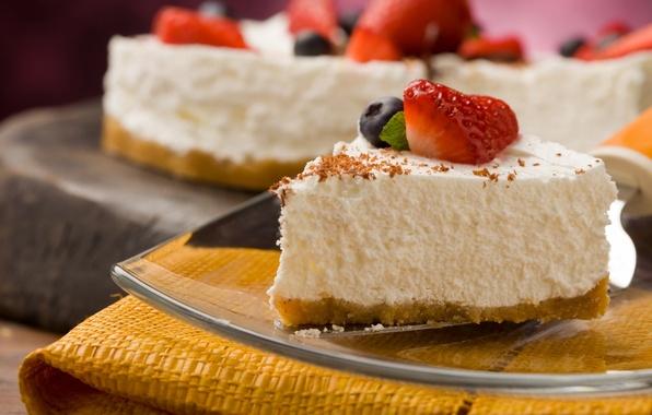 Картинка ягоды, черника, клубника, торт, пирожное, десерт, кусок, сладкое, чизкейк