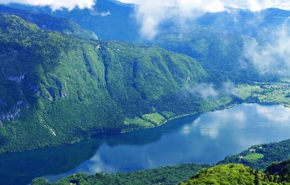 Картинка лес, небо, облака, горы, природа, озеро, фото, Словения, slovenia