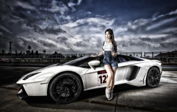 Картинка модель, Lamborghini, суперкар, азиатка, Aventador, Lamborghini Aventador, Lamborghini Aventador LP 700-4, sports car