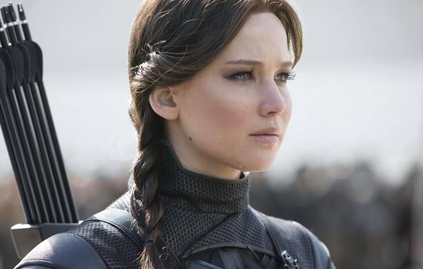 Картинка фантастика, кадр, прическа, костюм, стрелы, косичка, Jennifer Lawrence, Дженнифер Лоуренс, The Hunger Games: Mockingjay - ...