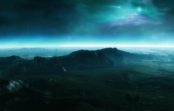 Картинка звезды, метеор, поверхность планеты