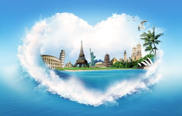 Картинка море, вода, брызги, пальмы, креатив, берег, сердце, эйфелева башня, чайки, пирамида, колизей, статуя свободы, дворец