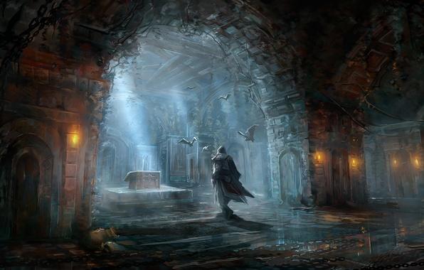 Картинка игры, фантастика, рисунок, мужчина, Assassins Creed, летучие мыши, помещение, games, art