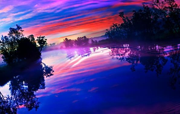 Картинка небо, облака, деревья, закат, озеро, отражение, река, рябь, зарево