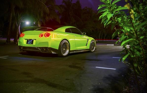 Картинка GTR, Nissan, Car, Green, Back, R35, Sport, 1400HP, Tomei