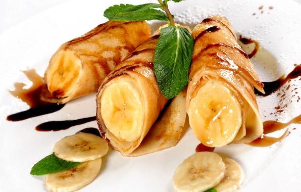 Картинка фото, Листья, Бананы, Еда, Блины, Выпечка