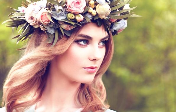 Картинка девушка, прелесть, венок, Beautiful blonde woman