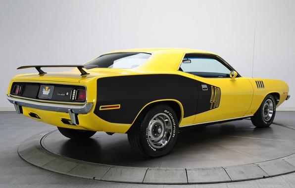 Картинка желтый, фон, 1971, вид сзади, Plymouth, Muscle car, Cuda, Мускул кар, Плимут, Куда, Барракуда, 440