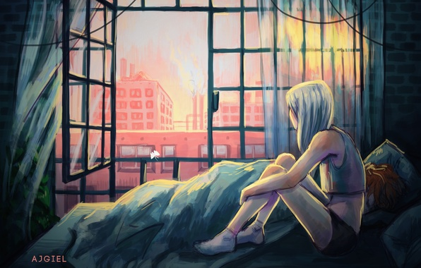 Картинка девушка, кровать, дома, окно, art, ajgiel