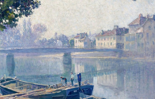 Картинка пейзаж, мост, город, река, люди, лодка, картина, Анри Лебаск, The Banks of the Marne