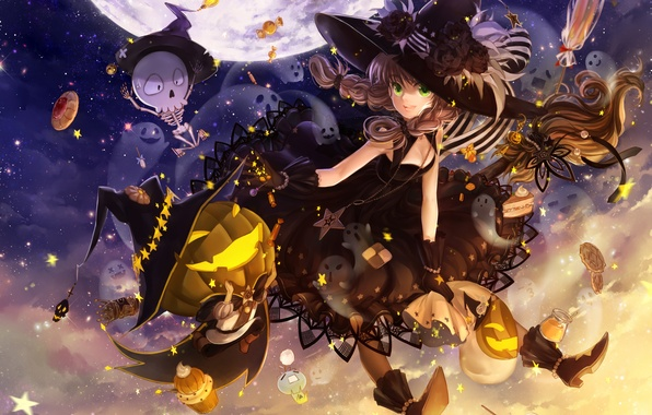 Картинка небо, ночь, праздник, луна, шляпа, аниме, арт, конфеты, скелет, девочка, тыква, ведьма, метла, halloween, huazha01