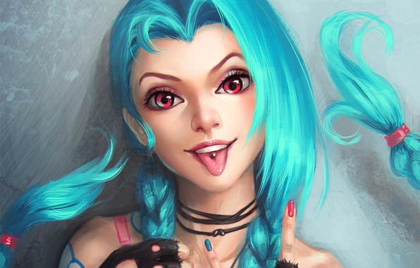 Картинка язык, lol, League of Legends, blue hair, jinx