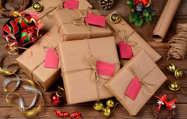 Картинка зима, шарики, праздник, подарок, Рождество, Новый год, колокольчики, Happy New Year, balls, box, winter, Merry …