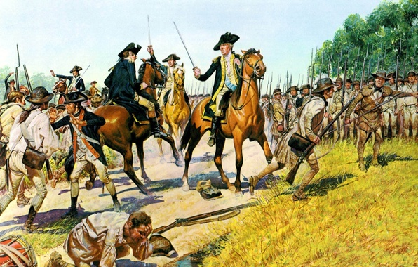 Картинка оружие, масло, картина, арт, солдаты, экипировка, холст, офицеры