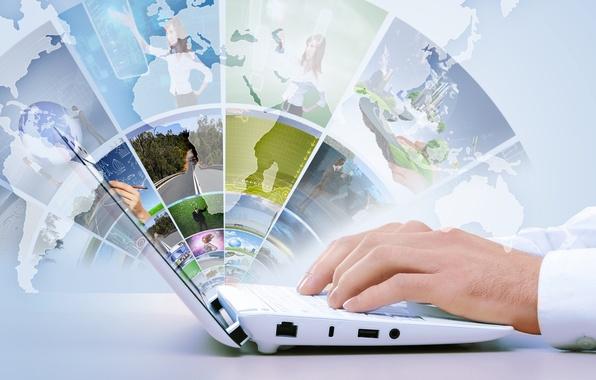 Картинка карта, технологии, руки, ноутбук, интернет, hi-tech