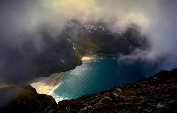 Картинка пляж, горы, тучи, природа, бухта, Исландия