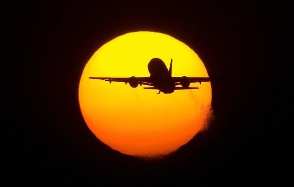 Картинка полет, самолет, Солнце