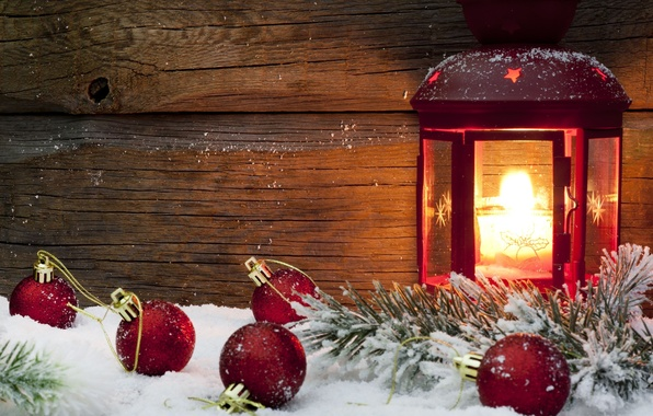 Картинка зима, снег, красный, фон, огонь, праздник, шары, обои, игрушки, новый год, свеча, фонарь, wallpaper, new …