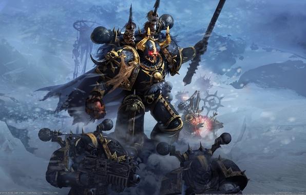 Картинка магия, Хаос, маг, черепа, Warhammer, 40000, командор, болтеры, Chaos Rising, космодесант, Dawn of War 2, ...