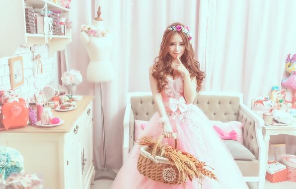 Картинка стиль, комната, Девушка, платье, азиатка
