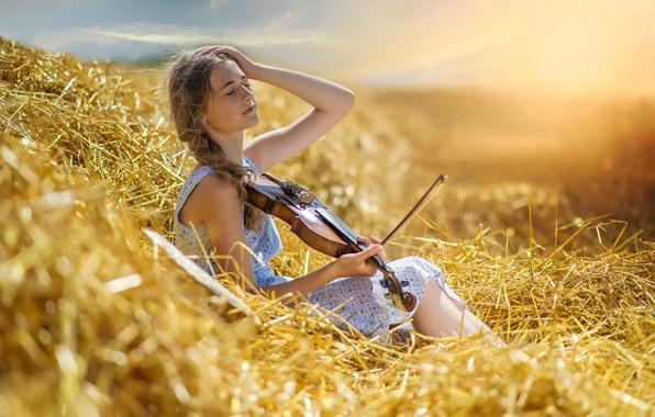 Картинка лето, девушка, скрипка, жара