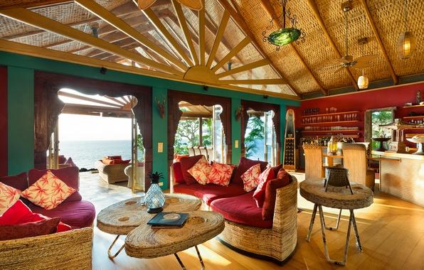 Картинка pacific ocean, living room, fiji, luxury
