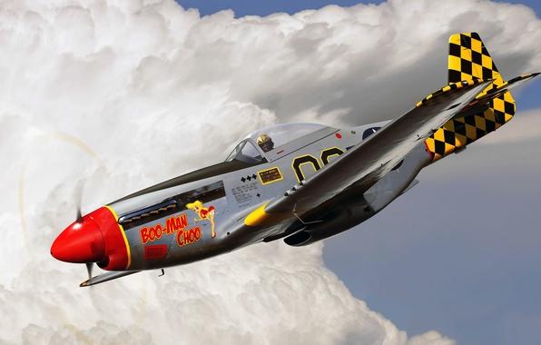 Фото обои рисунок, ВВС США, арт, P-51, North American, Mustang