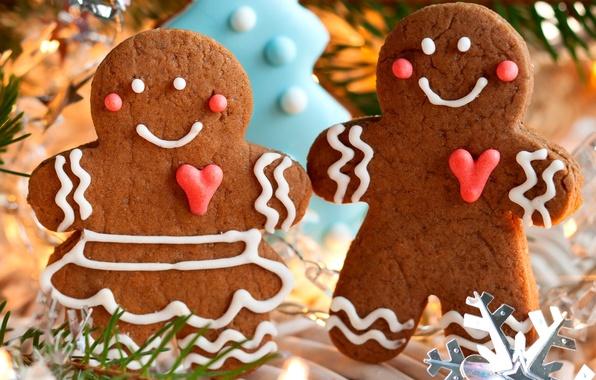 Картинка зима, праздник, еда, человечки, печенье, Рождество, сладости, Новый год, Christmas, фигурки, выпечка, печеньки, New Year, …