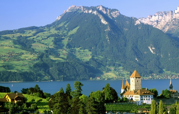 Картинка озеро, замок, Швейцария