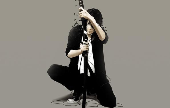 Картинка провода, меч, катана, лепестки, парень, art