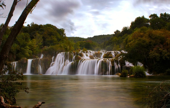 Картинка осень, река, водопад, каскад, Хорватия, Croatia, Krka National Park, Далмация, Dalmatia, Skradinski buk, река Крка, …