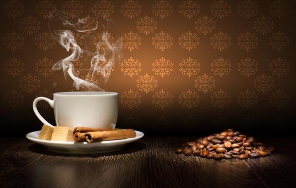 Картинка стол, кофе, зерна, пар, чашка, сахар, корица, блюдце