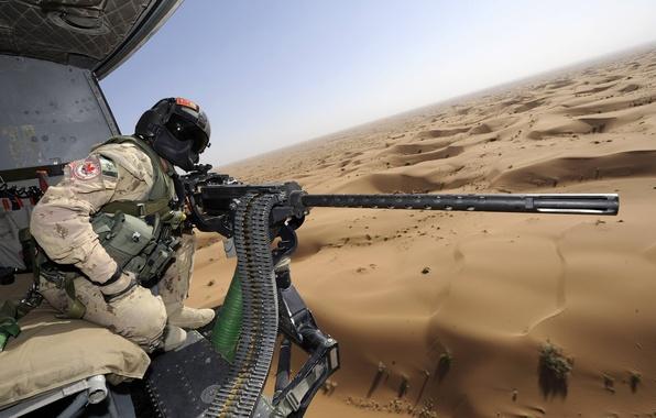 Картинка пустыня, солдат, вертолет, M3M, тяжелый пулемет, GAU-21