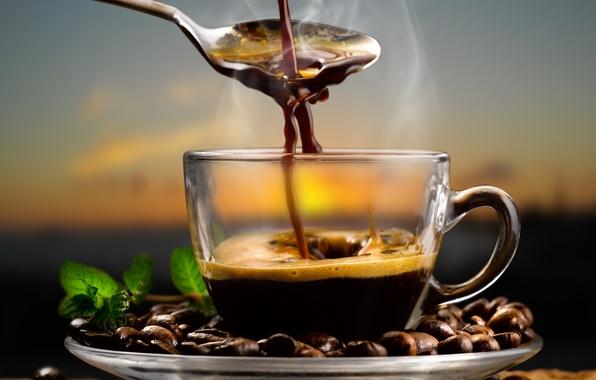 Картинка кофе, ложка, кофейные зерна, аромат, coffee, spoon, coffee beans, листья мяты, mint leaves, aroma