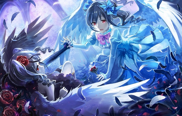 Картинка цветы, девушки, розы, крылья, аниме, перья, арт, idolmaster, idolmaster cinderella girls, kanzaki ranko, eikura, matti