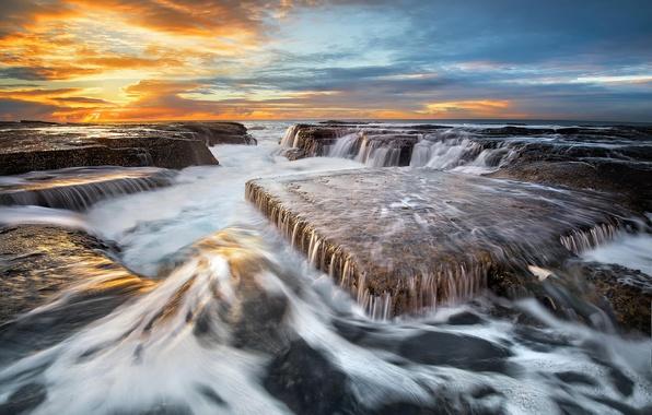 Картинка море, волны, пляж, небо, вода, облака, свет, камни, океан, скалы, выдержка, Австралия, потоки