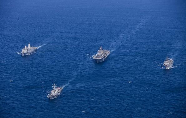 Картинка океан, корабли, армия, флот