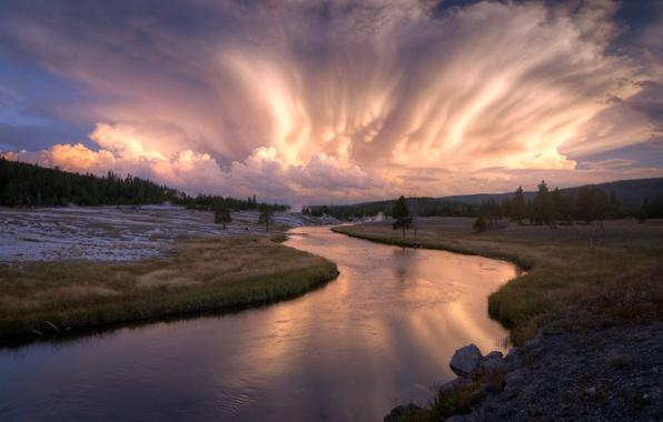 Картинка поле, небо, пейзаж, река, вечер