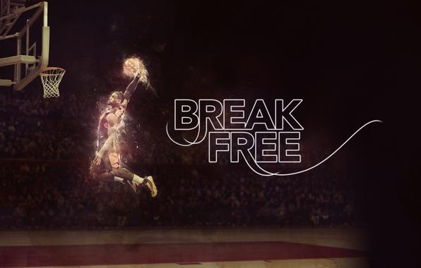 Картинка Поле, Огонь, Баскетбол, NBA, LeBron James, Зависание, Игрок, Break Free