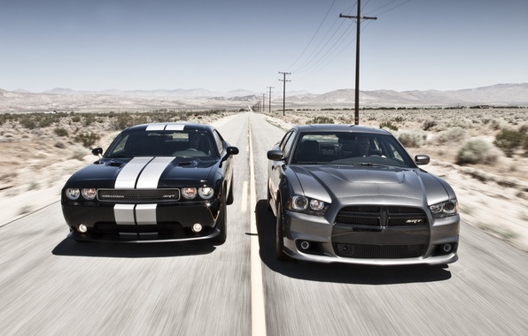 Картинка небо, купе, Dodge, SRT8, Challenger, седан, додж, Charger, чарджер, Muscle car, 392, челенжер, срт8, дорога.горизонт.горы