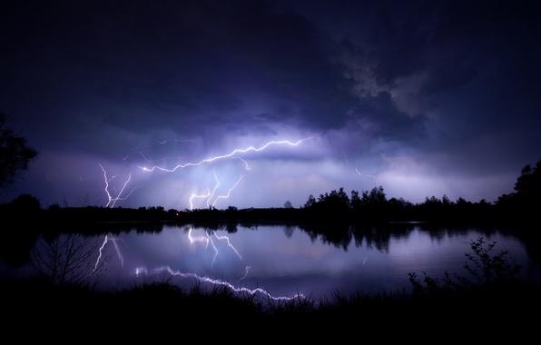 Картинка гроза, небо, тучи, озеро, отражение, молнии, вечер