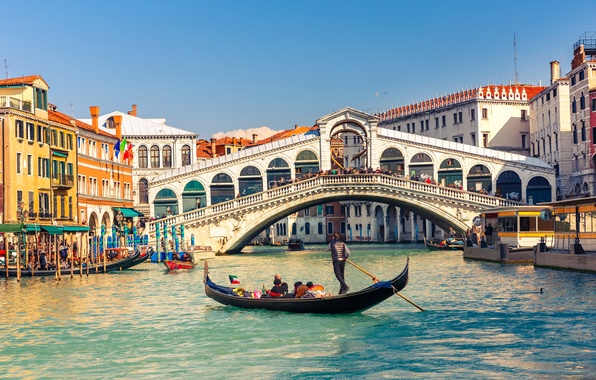 Картинка мост, здания, Италия, Венеция, канал, Italy, гондола, Venice, Гранд-канал, Мост Риальто, Grand Canal, Большой канал, …