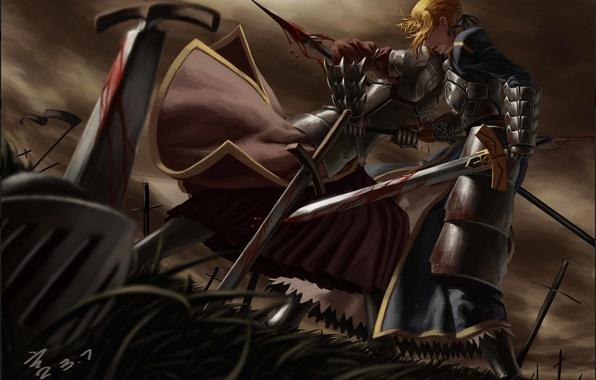 Картинка девушка, оружие, кровь, меч, аниме, воин, арт, броня, копьё, saber, fate stay night, mordred, feitie, …