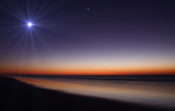 Картинка песок, пляж, ночь, природа, луна, берег