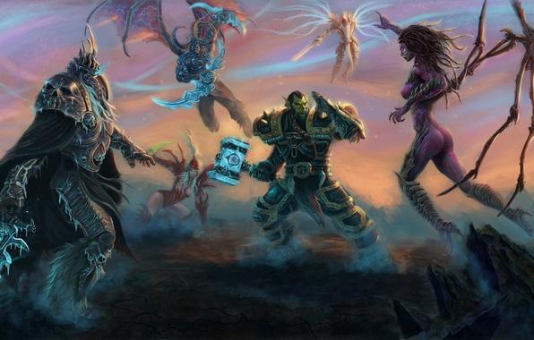Картинка World of Warcraft, Lich King, Blizzard, Diablo, Sarah Kerrigan, Archangel, StarCraft, Illidan Stormrage, Arthas Menethil, ...