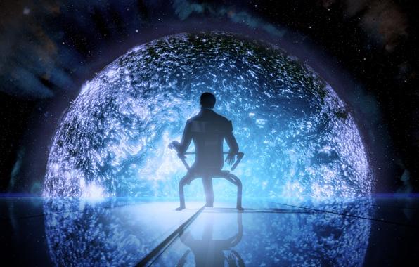 Картинка космос, звезда, человек, кресло, mass effect, illusive man