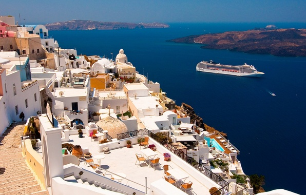 Картинка Санторини, Греция, лайнер, Santorini, Oia, Greece, Эгейское море