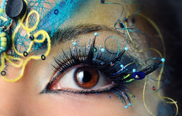 Картинка девушка, макро, глаз, ресницы, макияж, зрачок, брови, тени